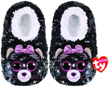 Kiki the Grey Cat Sequin Slippers Medium
