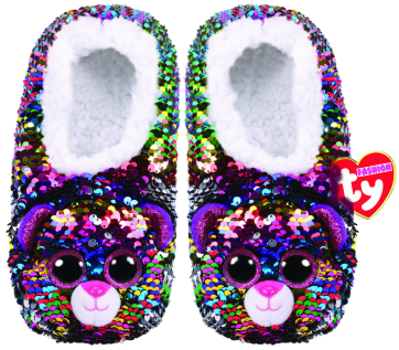 Dotty the Multicoloured Leopard Sequin Slippers Large