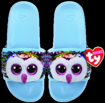 Owen the Multicoloured Owl Sequin Slides Small