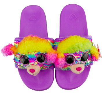 Rainbow the Multicoloured Poodle Sequin Slides Medium