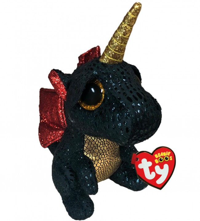 Ty Beanie Babies 36321 Boos Grindal the Black Dragon with Horn Boo