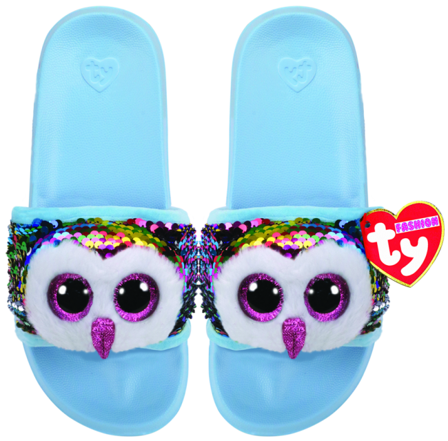 8d331df1e016 Beanie Boos Australia - Owen the Multicoloured Owl Sequin Slides ...