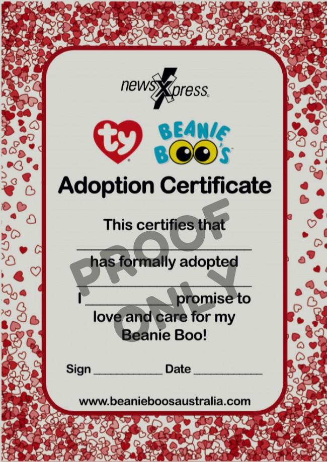 43802f05d49 Beanie Boos Australia - Beanie Boo Adoption Certificates - Regular ...