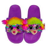 Rainbow the Multicoloured Poodle Sequin Slides Small