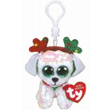 Sugar the Dog with Antlers Christmas Clip Beanie Boo