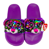 Dotty the Multicoloured Leopard Sequin Slides Medium