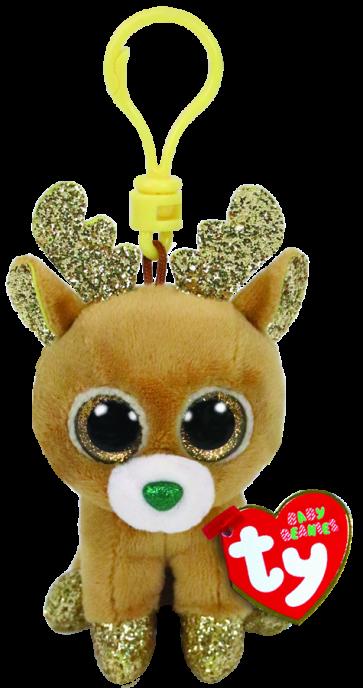Glitzy the Reindeer Christmas Clip Beanie Boo