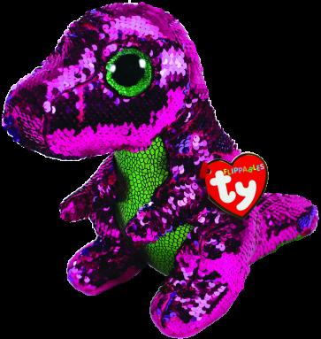 Stompy the Pink & Green Dinosaur Medium Flippable
