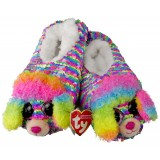 Rainbow the Multicoloured Poodle Sequin Slippers Medium