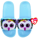 Owen the Multicoloured Owl Sequin Slides Medium