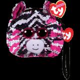 Zoey the Pink Zebra Sequin Wristlet