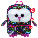 Owen the Multicoloured Owl Sequin Square Backpack