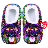 Dotty the Multicoloured Leopard Sequin Slippers Small