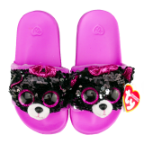 Kiki the Grey Cat Sequin Slides Small