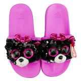 Kiki the Grey Cat Sequin Slides Medium